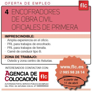4 ENCOFRADORES OBRA CIVIL