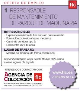 1 RESPONSABLE DE MANTENIMIENTO PARQUE MAQUINARIA